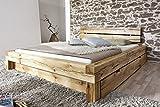 SAM® Balkenbett Elias Massiv Holzbett mit Schubkästen 160 x 200 cm geölt natürliches Design