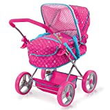 Hauck Puppenwagen Gini mit abnehmbare Softtasche, verstellbarem Sonnenverdeck und geräumigem Spielzeugkorb, Abnehmbare Reifen, Weicher Softgriff, Einfache Klappfunktion - Birdie Pink