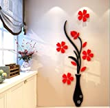 Baron W.H 3D Stereo Acryl Wand Aufkleber Logo Wandaufklebern Warmen Wohnzimmer Schlafzimmer TV Hintergrund Wanddekoration Umweltschutz Wandaufklebern, Rot, 590 x 1500 mm