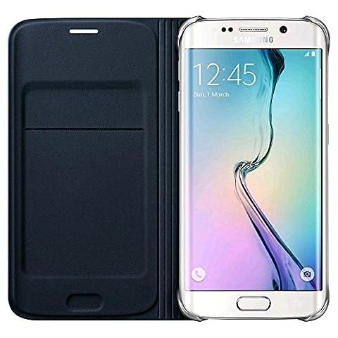 Samsung Etui de Protection Type Folio Aspect Cuir Folio avec Compartiment pour Carte Compatible avec Galaxy S6 Edge - Noir