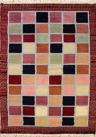 94x147 Pak Gabbeh Design Area Rug with Wool Pile | 100% Original Hand-Knotted in Red,White,Blue colors | a 91 x 152 Rectangular Gabbeh Rug
