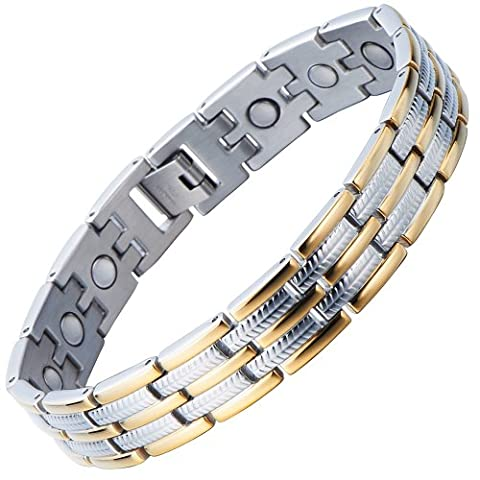 Stainless Steel Man Magnetic Energy Link Bracelet Gold Silver with Magnets and Free Link Removal Kit