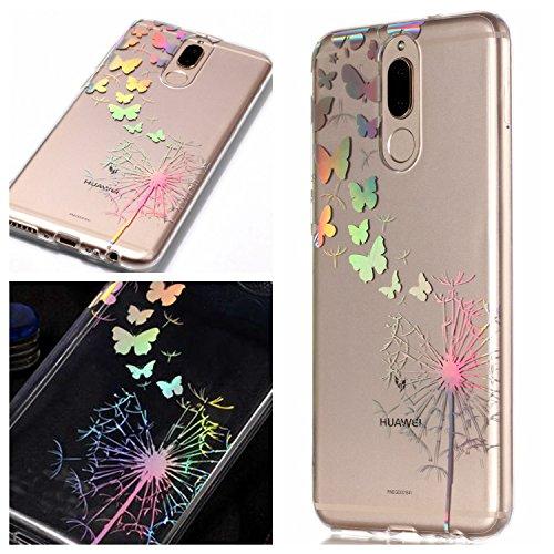 Nnopbeclik® Huawei Mate 10 Lite Hüllen Silikon Transparent, Mate 10 Lite Case Rose gold Handyhülle Blumen 3D Glitzer Muster Cover Thin Gel Bumper Etui Huawei Mate 10 Lite Schutzhüllen