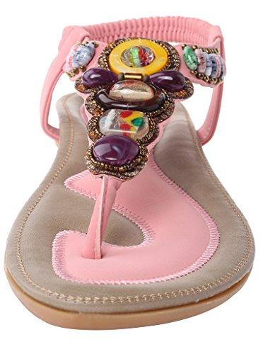 Vogstyle Femmes Nouvelles Sandales Chaussures Style Bohème Talon Plat Pantoufles Style-2 Rose