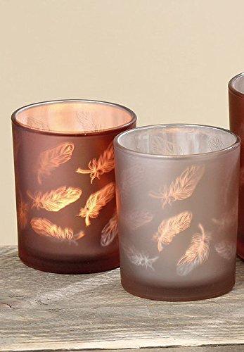 Teelichthalter Windlicht Feder Kupfer Braun 2 tlg Set Glas lackiert H 8 cm