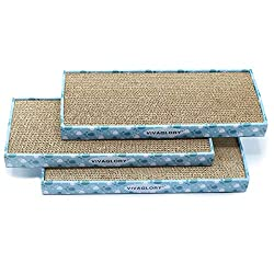 Vivaglory Reversible Cat Scratcher Cardboard with Box, Cat Scratching Pad Kitty Corrugated Sofa Lounge with Catnip, 3 Pack, Regular