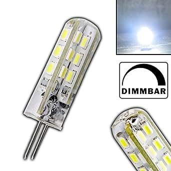 Dimmbare G4 HIGH-POWER LED KALTWEIß mit 1,5 Watt DIMMBAR und 24 SMDs 12V DC 135lm für Dimmer Halogenförmig Stiftsockel 330° Leuchtmittel G4 Lampensockel Spot Halogenersatz Lampe