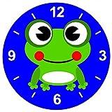 'Cristal Reloj 'Frog de Anfibios de animales de color verde de Feliz de lächelnd de rana de...