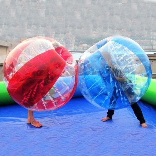 amazingsportstm 2bolas burbuja bola de fútbol traje para adultos barato Dia 5De 1,5M 1azul/claro y 1rojo/PVC transparente Bumper bolas (1,2m 1,7m disponible)