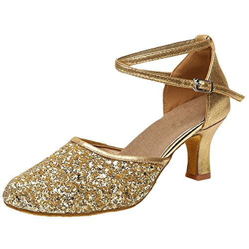 Oasap Women's Fashion Pointed Toe Cross Strap Latin Party Dance Shoes golden
