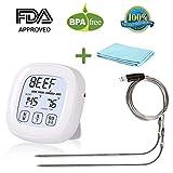 RCruning-EU Bratenthermometer Grillthermometer Ofenthermometer Fleischthermometer DigitalMit LCD-Display Für Das Kochen BBQ Backofen