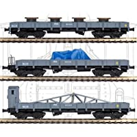 3 Flat cars serie MM with cargo [Mabar 81402/B], RN, 1:87 H0, DC