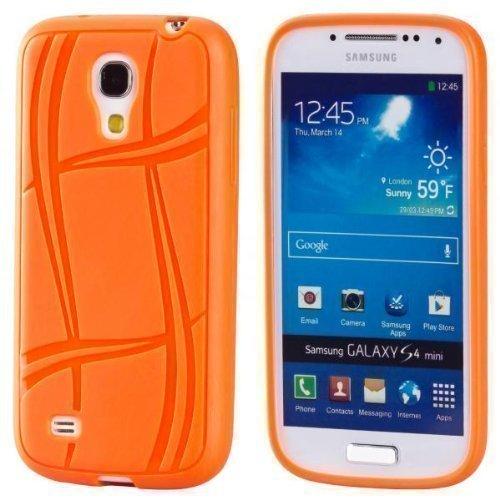 ECENCE Samsung Galaxy S4 mini i9190 Silikon TPU case schutz hülle handy tasche cover schale retro rot weiss gepunktet 12040404 Orange Color Line