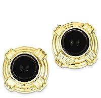 14k Yellow Gold Onyx Fancy Earrings