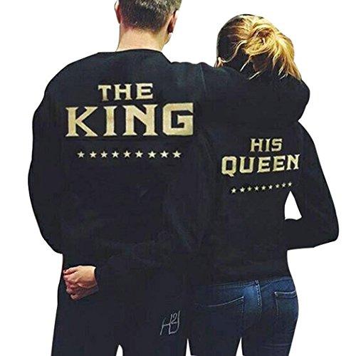*Keland Casual Pullover King and Queen Valentine Lover Kleidung Couple Kapuzenpullover mit Taschen Herbst Winter Outwear Sweatshirt Schwarz*