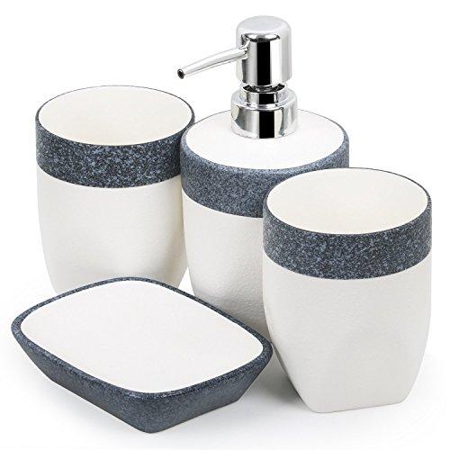 TRIXES 4-teiliges Badezimmerset aus Seifenschale Flüssigseifenspender und zwei Zahnputzbechern in weiß und grau mit Granit-Effekt