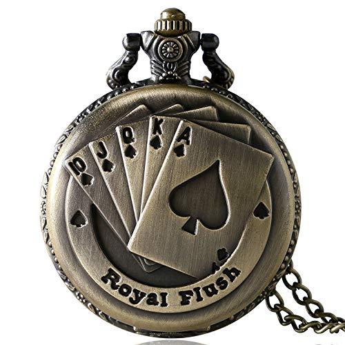HANXIAO Taschenuhren Antike Bronze Royal Flush Poker Karten Taschenuhr Halskette Kette Geschenk - Blau