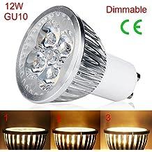 EBILUN - Foco LED GU10, 220 V, 12 W, luz blanca cálida,