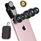 6 In 1 Cell Phone Lens Kit With Case, Included Super Fisheye Lens + 0.63x Wide Angle Lens + 15x Macro Lens + 2X Telephoto Lens+ Kaleidoscope Lens + CPL Polarizer Lens