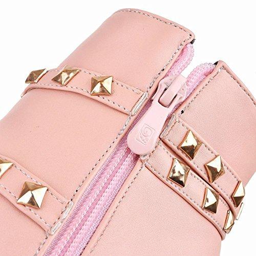 Mee Shoes Damen Stiletto Nieten warm gefüttert Reißverschluss Stiefel Pink
