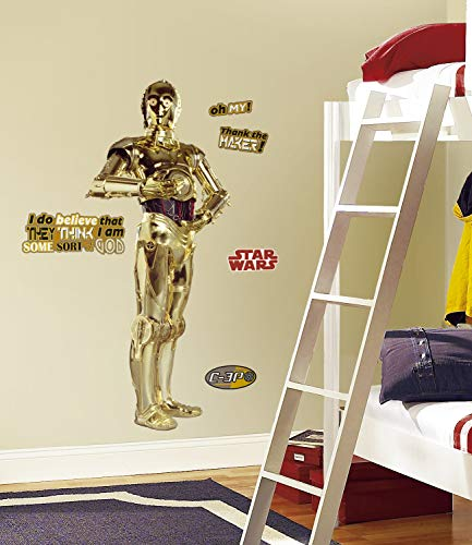 RoomMates 539103 Star Wars C3PO Autocollant Géant Repositionnable Or 0,01 x 60 x 146 cm
