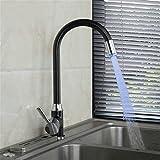 GQLB Kupfer Einloch Küchenarmatur Spüle mit warmen und kalten Wasserhahn beleuchtete LED Wasserhahn drehen