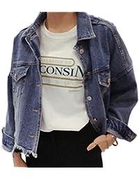 Blansdi Damen Mädchen Frauen Herbst Beiläufig Stilvoll Distressed Quaste Gewaschene Lose BF Jeans Denim Loch Jeansjacke Jacket Oberbekleidung Mantel Coat