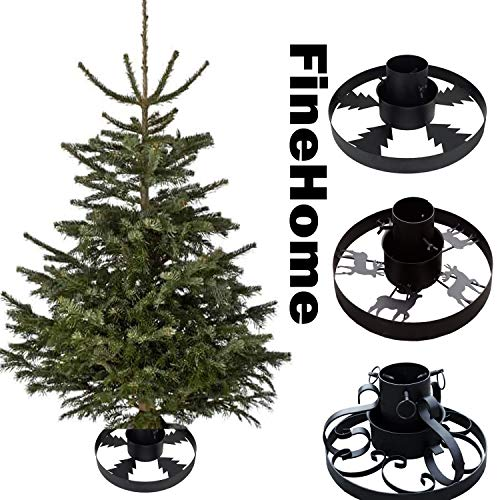 FineHome Metall Tannenbaumständer Weihnachtsbaumständer Ø 40cm Baumständer Christbaumständer Verschiedene Modelle, Model:Ornamente