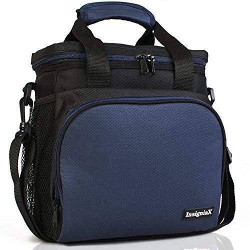 Bolsa Comida Térmica S1: InsigniaX Bolsa Almuerzo Para Trabajo Mujer Hombre Niños Niñas Con Correa y Agarre para Botella Tamaño 25,4 x 13 x 23,3cm (Grande, Azul Marino)