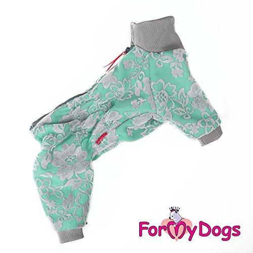 For my Dogs Hunde Winteranzug Anzug Overall Hündin Fleece Plüsch kuschelig ohne Kapuze, Farbe:Grün, Größe:16 -