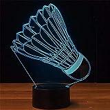 Led nachtlicht scheinwerfer 7 farben ändern led badminton modellierung usb tabelle leuchtende 3d kinder schlafzimmer schlaf nachtlicht