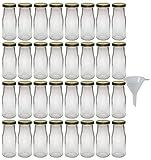 Viva Haushaltswaren - 32 x Glasflasche 156 ml mit goldfarbenem Schraubverschluss, als Milchflasche, Saftflasche & Smoothieflasche verwendbar (inkl. Trichter Ø 5 cm)