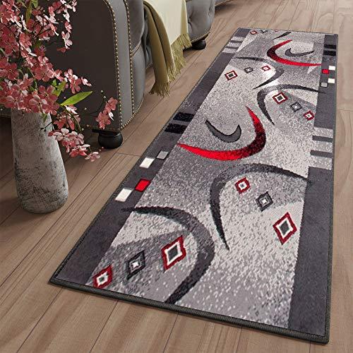 Tapiso Dream Läufer Teppich Flur Brücke Modern Streifen Bumerang Linien Abstrakt Muster in Grau Korridor Wohnzimmer ÖKOTEX 80 x 200 cm