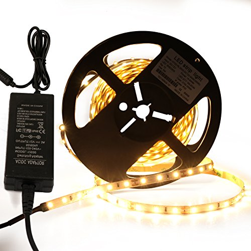 Roleadro Tira Led 5M 12V Con Alimentación 2835SMD 300 Leds Blanco Calido 3000K Led Strip Flexible Interior IP20 Non-Impermeable para Decoración del Hogar