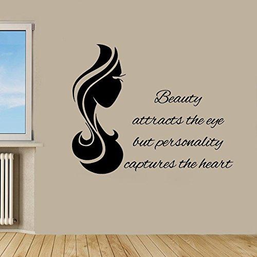 43SabrinaGill Frau Haar Wandaufkleber Mädchen Friseursalon Beauty Salon WallsUp Wandtattoo Worte Decor Vinyl Aufkleber Home Decor 55,9x 88,9cm
