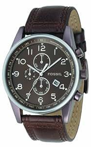 Fossil - FS4309 - Montre Homme - Quartz Analogique - Montre en Acier - Bracelet Cuir Marron - Chronographe - Dateur