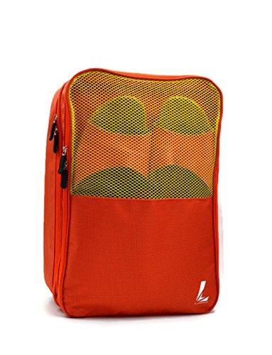 Geräumige Premium Schuhtasche – Schuhbeutel zur Aufbewahrung von Schuhe in Koffer, Reisetasche & Rucksack, als Sporttasche/Handgepäck mit Reißverschluss, Tragegriff, Kofferbefestigung (Orange) (An Mit Rückseite Reißverschluss Rucksack Der)