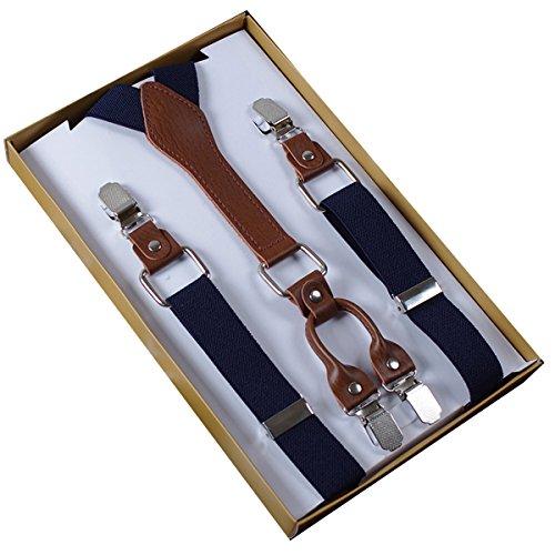 Panegy Damen Herren Y-Form 4 Clips Hosenträger Clip On Längenverstellbar Hoch Elastisch 2.5*110cm - Einfarbig Dunkelblau