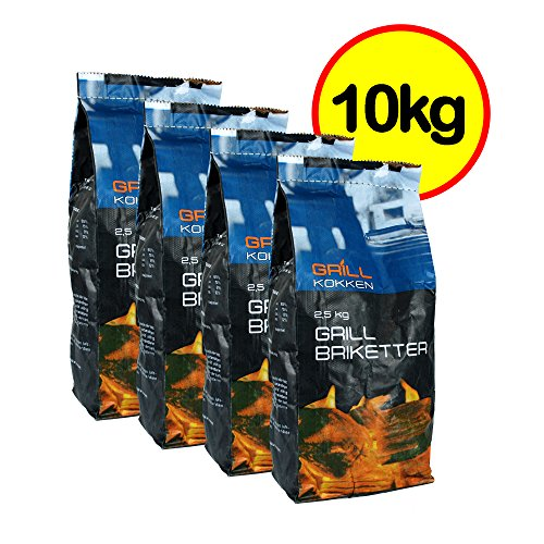 Grill Chef� Premium Charcoal Briquettes 10kg - High Quality Grilling BBQ Briquettes - Burns Longer - High Temperature - Perfect for Garden BBQs Kettle Grills & Smokers - FSC Certified - Available in 10kg & 15kg