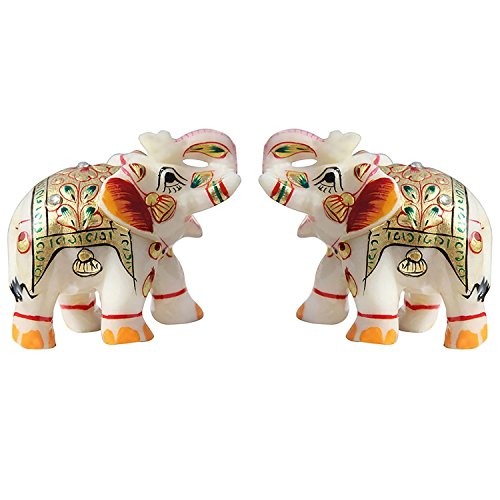 Fashion Bizz Indisches Handwerk Heimdekoration, Marmor Meena Elefant, 5,1 cm -