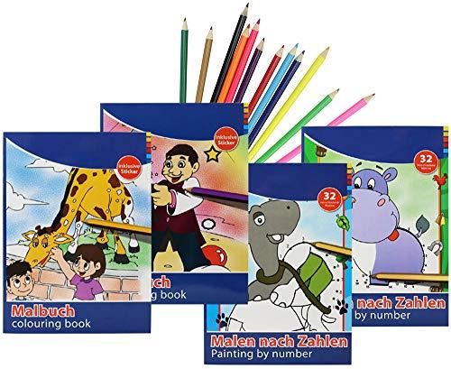 com-four® 4 Malbücher für Kinder zum Ausmalen und Malen nach Zahlen in verschiedenen Ausführungen beidseitig Bedruckt + 12 Buntstiften
