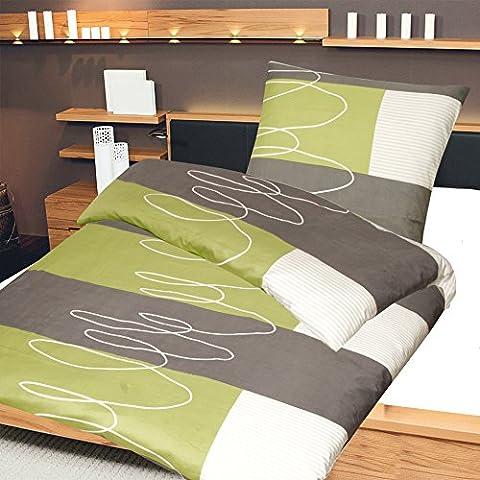 2-tlg. Microfaser Bettwäsche Aylin anthrazit/grün/weiss mit Reißverschluss 1x 155x220 Bettbezug + 1x 80x80 Kissenbezug, Öko-Tex Standart