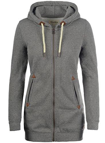 DESIRES Vicky Straight-Zip Damen Lange Sweatjacke Kapuzenjacke Sweatshirtjacke Mit Kapuze Und Fleece-Innenseite, Größe:M, Farbe:Grey Melange (8236)