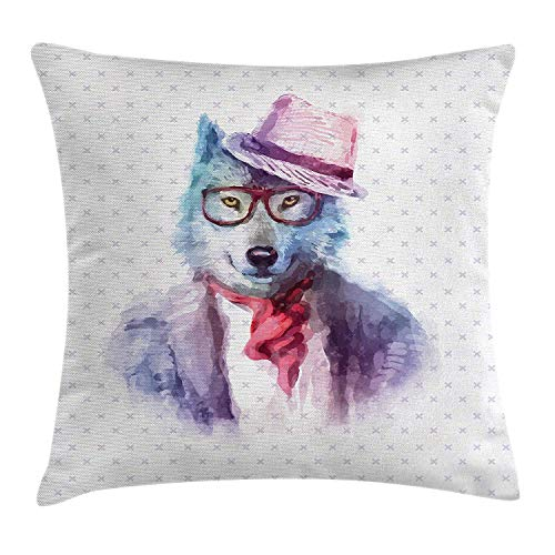 VVIANS Funny Throw Pillow Cushion Cover, Hipster Wolf Dog in Sunglasses Pullovers Retro Fashion Watercolor Style Illustration, Decorative Square Accent Pillow Case, 18 X 18 inches, Lilac Blue Royal Blue Dog Fleece Pullover