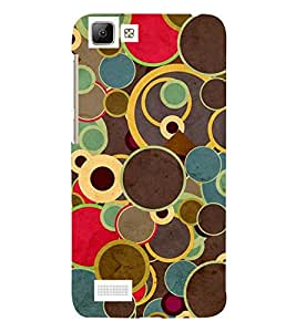 MULTI COLOURED CIRCULARE PATTERN 3D Hard Polycarbonate Designer Back Case Cover for vivo V1