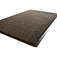 TrendMakers BIG EXTRA LARGE GREY AND BLACK BARRIER MAT RUBBER EDGED HEAVY DUTY NON SLIP KITCHEN ENTRANCE HALL RUNNER RUG MATS 120X180CM (6X4FT)