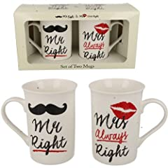 Idea Regalo - Mr & Mrs Always DESTRO caffè Mug tè Set regalo anniversario di matrimonio REGALO NUOVO