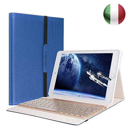 SENGBIRCH iPad 9.7 Custodia Tastiera, Custodia per Tastiera Italiana Retroilluminata a 7 Colori Staccabile Compatibile con iPad Air/Air 2, iPad PRO 9.7, iPad 9.7 2017/2018, Blu
