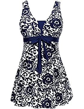 Summer Mae Damen Badekleid Geblümt Spa Badeanzug Strandkleid Baden Swimwear