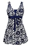 Summer Mae Damen Badekleid Geblümt  Spa Badeanzug Strandkleid Baden Swimwear ,Marineblau (Einteiler),EU 48 = Etikett Größe  8XL